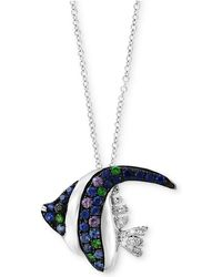 Effy Collection - Multi-gemstone (3/8 Ct. T.w.) & Diamond Accent Angle Fish Pendant Necklace In 14k White Gold - Lyst
