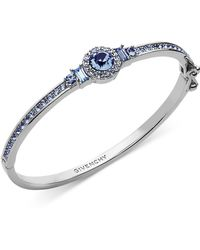 Givenchy Silver-tone Round Crystal And Pavé Hinged Bangle Bracelet - Blue