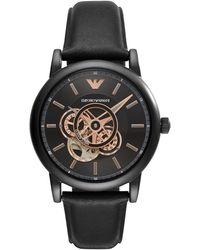 Emporio Armani - Automatic Black Leather Strap Watch 43mm - Lyst