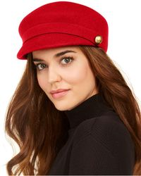 Nine West Wool Felt Newsboy Cap - Red