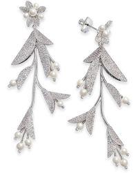 Kate Spade Gold-tone Crystal & Imitation Flower Statement Earrings - Metallic