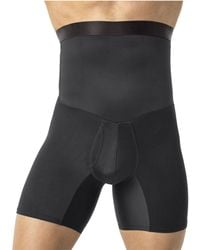 Leo High Waist Stomach Shaper With Boxer - Black
