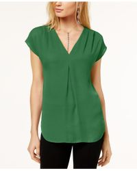 INC International Concepts - Inverted-pleat V-neck Top, Created For Macy's - Lyst