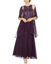 J Kara Embellished A-line Gown And Scarf - Purple