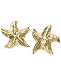 Macy's - Patterned Starfish Stud Earrings In 10k Gold - Lyst