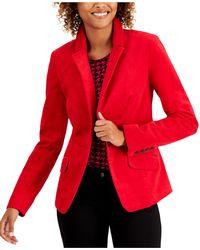Charter Club Velveteen Blazer, Created For Macy's - Red