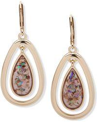 Anne Klein - Gold-tone Abalone Look Orbital Earrings - Lyst