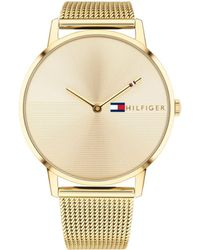 Tommy Hilfiger - Womens Gold-tone Stainless Steel Mesh Bracelet Watch 40mm , Created For Macys - Lyst