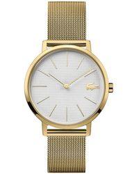 Lacoste Moon Gold-tone Stainless Steel Mesh Bracelet Watch 35mm - Metallic
