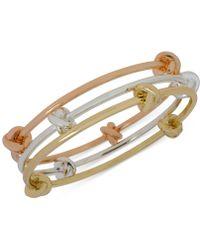 Hint Of Gold - Tri-tone Bangle Bracelet Trio - Lyst