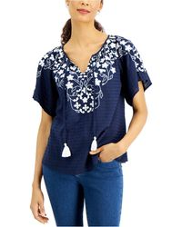 Charter Club Embroidered Tie-neck Top, Created For Macy's - Blue