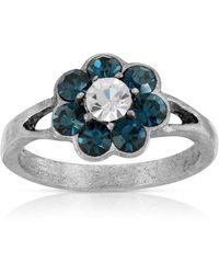 2028 Pewter Crystal Flower Ring - Blue
