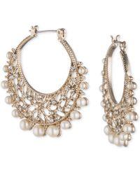 Marchesa - Gold-tone Crystal & Imitation Pearl Filigree Hoop Earrings - Lyst
