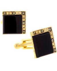 1928 Jewelry 14k Gold Plated Onyx Square Cufflinks - Black