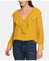 1.STATE - Ruffled V-neck Long-sleeve Top - Lyst