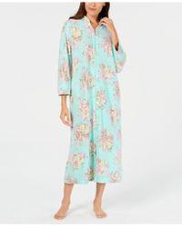 Miss Elaine - Printed Brushed-fleece Zip Robe - Lyst