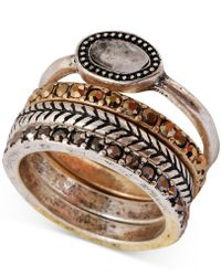 Lucky Brand - Two-tone Organic Stone Stack Ring - Lyst