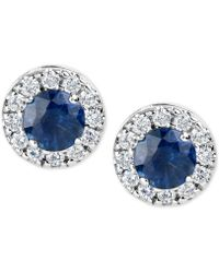 Macy's Sapphire (1-1/5 Ct. T.w.) And Diamond (1/3 Ct. T.w.) Halo Stud Earrings In 14k White Gold - Blue
