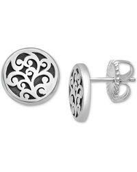 Lois Hill Scrollwork Stud Earrings In Sterling Silver - Metallic