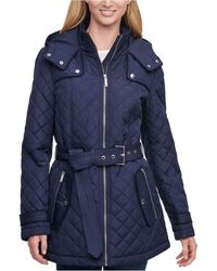 Tommy Hilfiger Petite Hooded Belted Water-resistant Quilted Coat - Blue