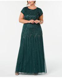 Adrianna Papell Plus Size Bead-illusion Blouson Dress - Green