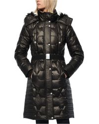 Marc New York - Belted Faux Fur Hooded Down Puffer Coat - Lyst