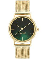 Nine West Gold-tone Mesh Bracelet Watch, 35mm - Metallic
