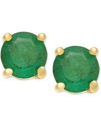 Macy's - Emerald Stud Earrings (1 Ct. T.w.) In 14k Gold - Lyst