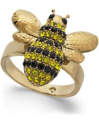 Kate Spade - 14k Gold-plated Crystal Bee Ring - Lyst