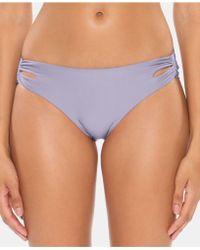 SOLUNA Over The Moon Shirred Full Moon Hipster Bikini Bottoms - Purple