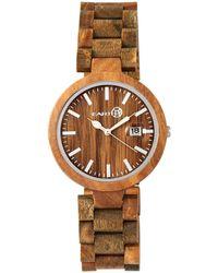 Earth Wood - Stomates Wood Bracelet Watch W/date Olive 40mm - Lyst