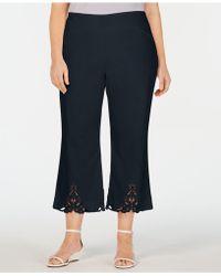 Charter Club Plus Size Crochet-bottom Wide-leg Capri Pants, Created For Macy's - Blue