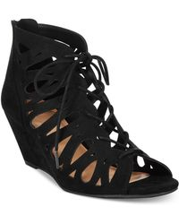 Material Girl - Mg35 Harlie Perforated Lace Up Wedge Sandals, Black - Lyst