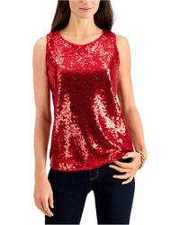 Charter Club Sequined Tank Top, Created For Macy's - Red