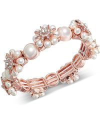 Charter Club - Rose Gold-tone Crystal & Imitation Pearl Starburst Stretch Bracelet, Created For Macy's - Lyst