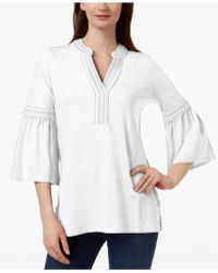 Charter Club - Cotton Bell-sleeve Peasant Top, Created For Macy's - Lyst