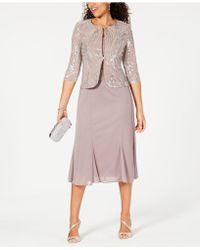 Alex Evenings Sleeveless Sequin Midi Dress And Jacket - Metallic