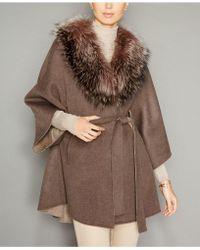 519dfa65aac The Fur Vault - Fox-fur-trim Belted Wool-blend Cape - Lyst