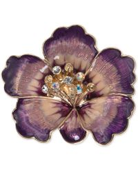 Anne Klein - Gold-tone Purple Crystal Flower Pin - Lyst