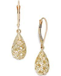 Macy's - Filigree Leverback Drop Earrings In 10k Gold - Lyst