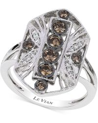 Le Vian | White And Chocolate Diamond (1/2 Ct. T.w.) Deco Ring In 14k White Gold | Lyst