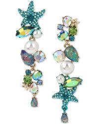 Betsey Johnson - Gold-tone Crystal, Pavé & Imitation Pearl Sea-themed Mismatch Earrings - Lyst