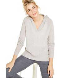 Charter Club Cashmere Solid Hooded-pullover, Created For Macy's - Gray