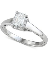 Macy's Diamond Halo Engagement Ring (1 Ct. T.w.) In 14k White Gold - Metallic