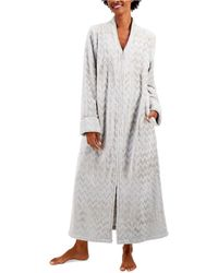 Charter Club Petite Long Chevron Zip Robe, Created For Macy's - Gray