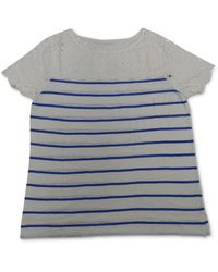 Charter Club Petite Striped Cotton Eyelet Top, Created For Macy's - Blue