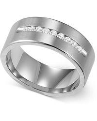 Triton - Men's Channel-set Diamond Wedding Band In Cobalt (1/4 Ct. T.w.) - Lyst