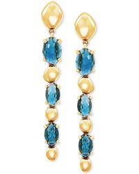 Macy's London Blue Topaz Drop Earrings (2-1/2 Ct. T.w.) In 14k Gold