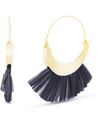 Catherine Malandrino Crescent Hoop In Yellow Gold-tone Alloy And Teal Raffia Tassel - Blue