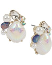Betsey Johnson - Gold-tone Imitation Pearl & Crystal Shell Stud Earrings - Lyst